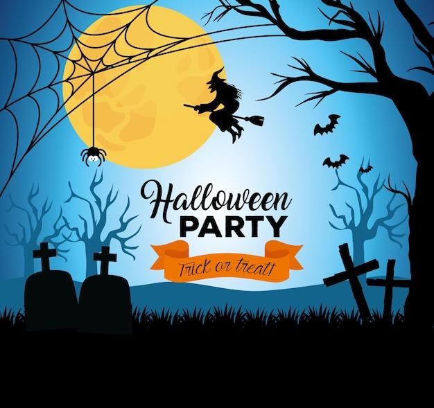 Glückliches halloween-banner mit schattenbildhexenfliegen und -dekoration auf dunkler nacht