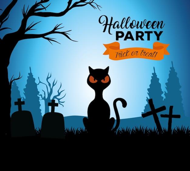 Glückliches halloween-banner mit schwarzer katze im friedhof