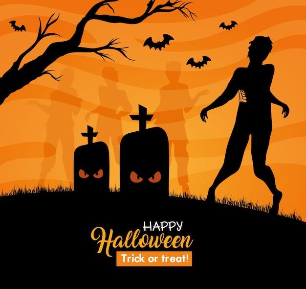 Glückliches halloween-banner mit silhouette des zombies im friedhof