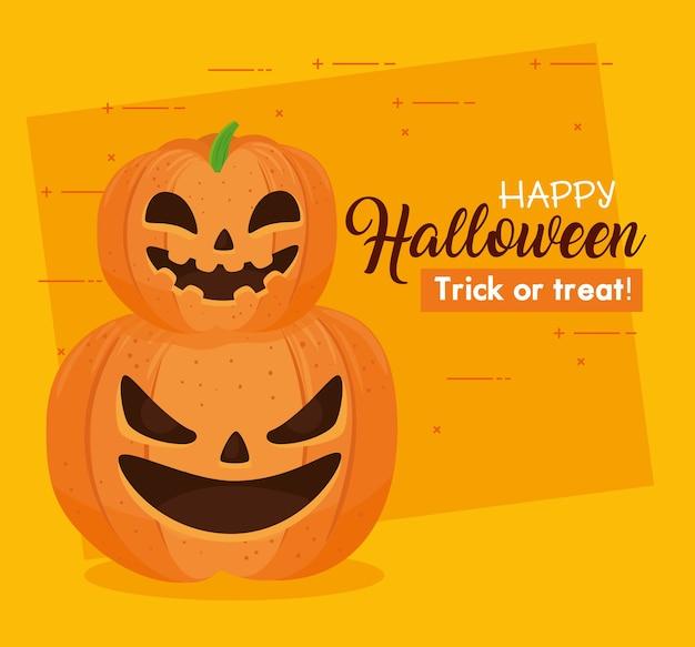 Glückliches halloween-banner mit unheimlichen kürbissen auf orange hintergrund