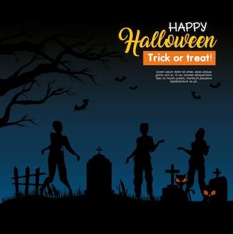 Glückliches halloween-banner mit zombiesilhouetten auf friedhof