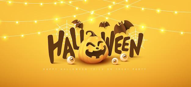Glückliches halloween-banner oder partyeinladungshintergrund