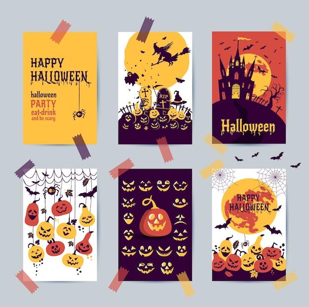 Glückliches halloween-banner. satz von designpostkartenikonenelementen.
