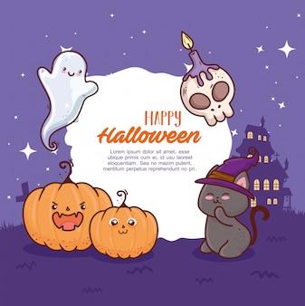 Glückliches halloween-banner und niedliche ikonen mit spukhausvektorillustrationsentwurf
