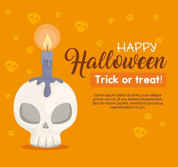 Glückliches halloween-banner und schädel mit kerze