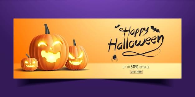 Glückliches halloween-banner, verkaufsförderungsbanner mit halloween-kürbissen. 3d-illustration