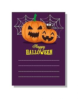 Glückliches halloween-blatt für tun liste mit kürbis
