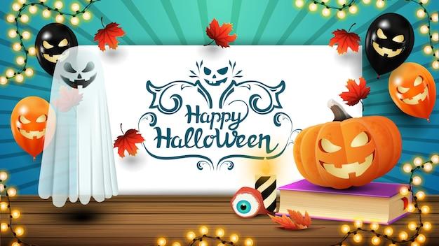 Glückliches halloween, blaue karte mit halloween-ballonen, geist, zauberbuch und kürbis jack grüßend