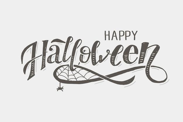 Glückliches halloween, das kalligraphie-bürsten-text-feiertags-aufkleber beschriftet