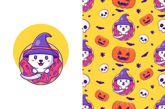 Glückliches halloween der netten hexenkatze mit nahtlosem muster