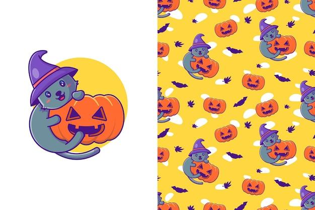 Glückliches halloween der netten katze und des kürbises mit nahtlosem muster