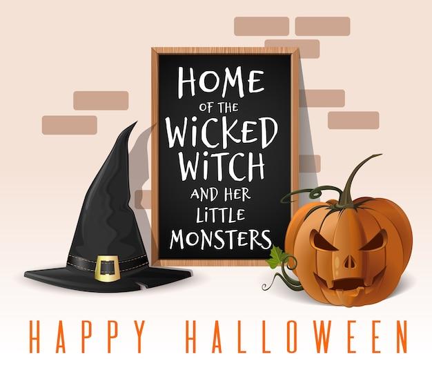 Glückliches halloween-design. heimat der bösen hexe und ihrer kleinen monster. haus für halloween-feiern dekoriert. illustration