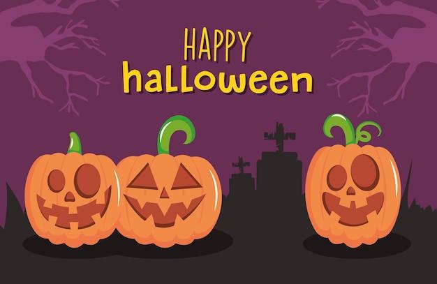 Glückliches halloween-design mit unheimlichen kürbissen über friedhofssilhouette und lila hintergrund