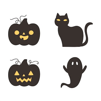 Glückliches halloween, dunkle kürbiskatze und -geister-trick oder behandeln partyfeier-vektorillustration
