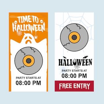 Glückliches halloween-einladungsdesign mit augenballvektor