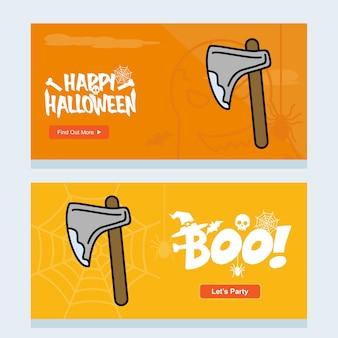 Glückliches halloween-einladungsdesign mit axtvektor