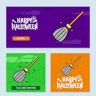 Glückliches halloween-einladungsdesign mit besenvektor