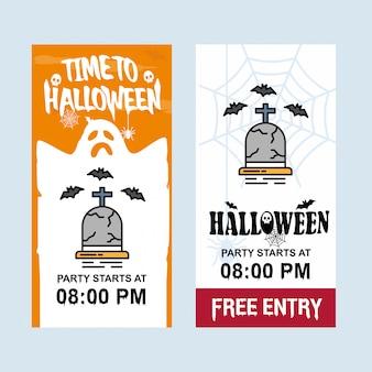 Glückliches halloween-einladungsdesign mit ernstem vektor