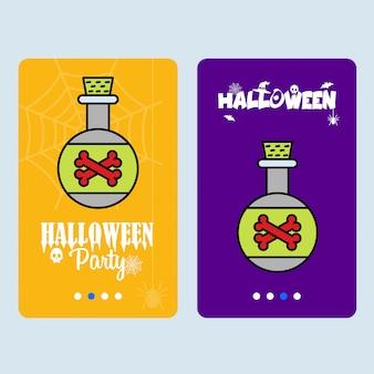 Glückliches halloween-einladungsdesign mit giftvektor