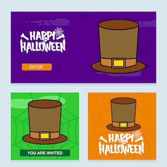 Glückliches halloween-einladungsdesign mit hutvektor