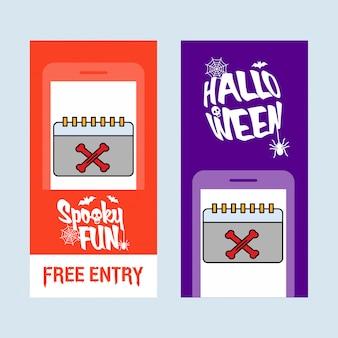 Glückliches halloween-einladungsdesign mit kalendervektor