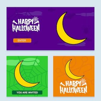 Glückliches halloween-einladungsdesign mit mondvektor