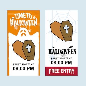 Glückliches halloween-einladungsdesign mit sargvektor