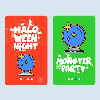 Glückliches halloween-einladungsdesign mit spiegelvektor