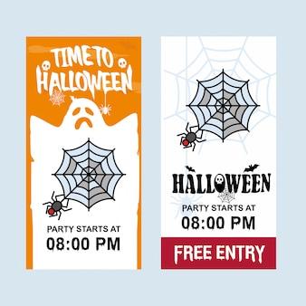Glückliches halloween-einladungsdesign mit spinnenvektor