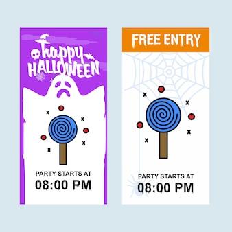 Glückliches halloween-einladungsdesign mit süßigkeitsvektor