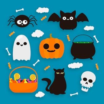 Glückliches halloween-elementkollektionsdesign
