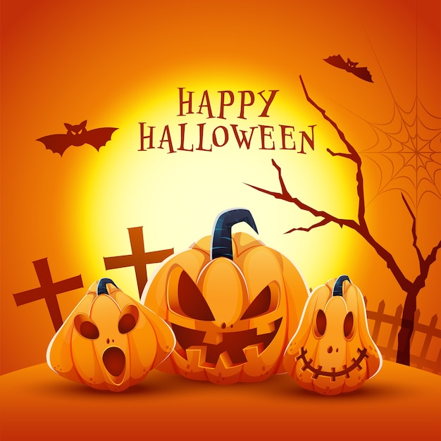 Glückliches halloween-feier-konzept mit gruseligen jack-o-laternen und fliegenden fledermäusen auf vollmondwaldhintergrund.