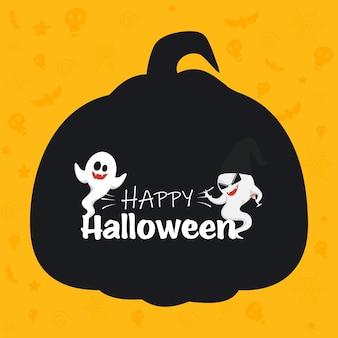 Glückliches halloween-feier-konzept mit zwei geistern, die auf gelbem und schwarzem schattenbild-kürbis-hintergrund genießen.