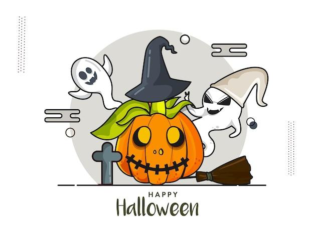 Glückliches halloween-feier-poster-design mit unheimlichem kürbis mit hexenhut und fröhlichen geistern auf weißem hintergrund.