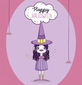 Glückliches halloween-feiermädchen mit huthexe
