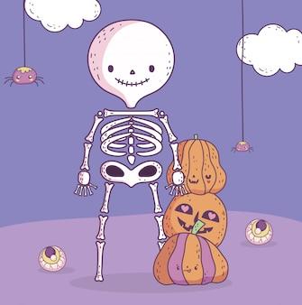 Glückliches halloween-feierskelett mit kürbisen und gruseligen augen
