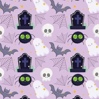 Glückliches halloween, geisterfledermausspinnenschädel-grabstein-trick oder behandeln partyfeier-hintergrundvektorillustration
