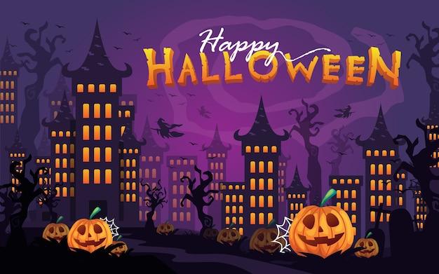 Glückliches halloween gespenstisches schloss mit dunklem baum und kürbisvektorillustration