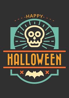 Glückliches halloween grußkartenabzeichen
