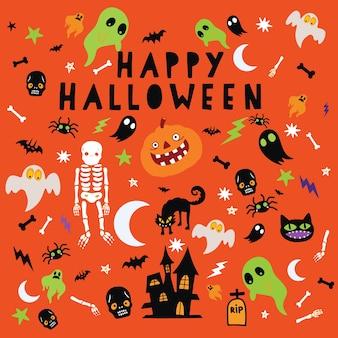 Glückliches halloween, halloween-symbole für hintergrund