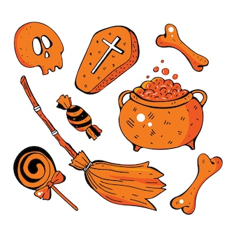 Glückliches halloween handgezeichnetes set