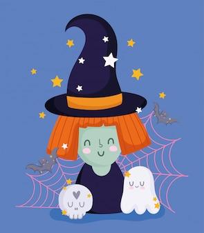 Glückliches halloween, hexe mit hutgeistschädelweb und sternen tricksen oder behandeln partyfeiervektorillustration