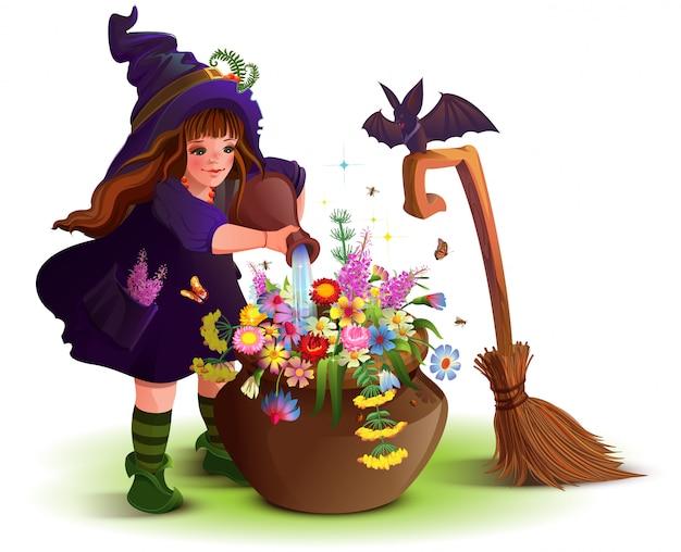 Glückliches halloween-hexenmädchen kocht magischen blumentrank