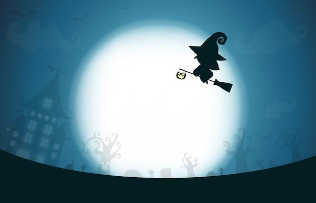 Glückliches halloween, hexenschattenbild auf dem mond, themadesignhintergrund