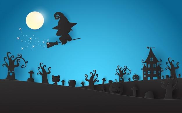 Glückliches halloween-hexenschattenbild auf der mondpapierkunst- und -handwerksart
