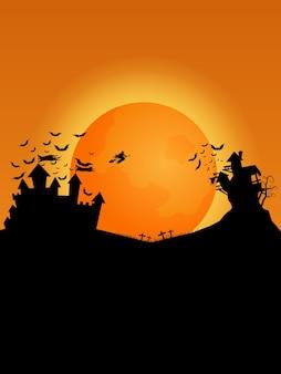 Glückliches halloween-hintergrundschattenbildschloss mit fledermäusen und hexenillustration