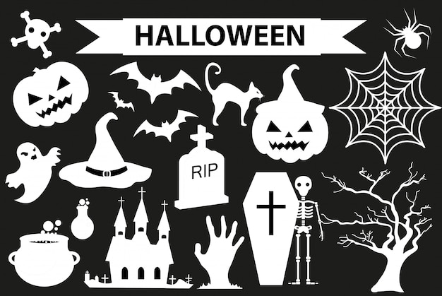Glückliches halloween-ikonenset, schwarzer silhouette-stil. auf weißem hintergrund. halloween-sammlung von elementen mit kürbis, spinne, zombie, schädel, sarg, fledermaus. illustration.