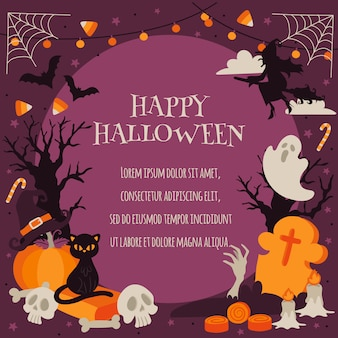 Glückliches halloween in der gespenstischen waldhintergrund-schablone