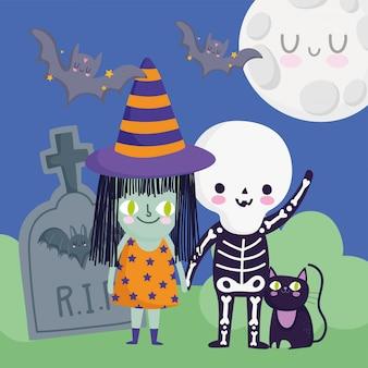 Glückliches halloween, kinder mit skelett- und hexenkostümkatzen-grabstein-trick oder behandeln partyfeier-vektorillustration
