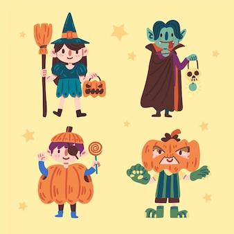 Glückliches halloween-kinderkollektionskonzept